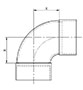 90º Long Radius Elbow (C x C) - Dimensions