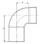 90º Long Radius Elbow (FTG x C) - Dimensions