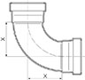 90º Elbow Long Radius Large - Dimensions