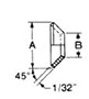 45° Flare Fittings - Copper Flare Gaskets-Dimensions