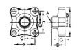 Forged Brass Solder Flanges And Gaskets - 4 Bolt, Flat Gasket Surface-Dimensions